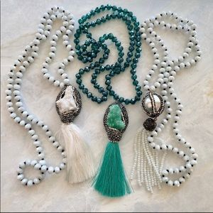 Beautiful boho beaded stone necklaces